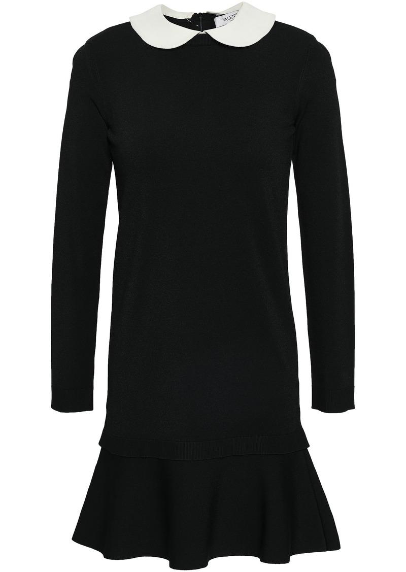 Valentino Woman Fluted Stretch-knit Mini Dress Black