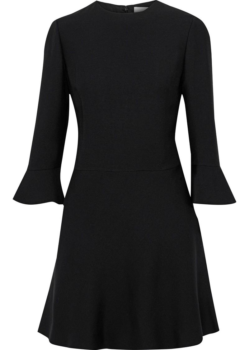 Valentino Woman Fluted Wool And Silk-blend Mini Dress Black