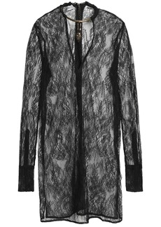 Valentino Woman Fringe-trimmed Woven Silk Coat Black