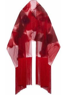 Valentino Woman Fringed Beaded Printed Tulle Scarf Red