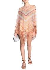 Valentino Woman Fringed Striped Pointelle-knit Silk Poncho Pastel Orange