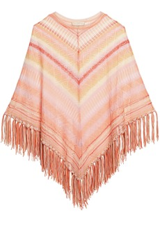 Valentino Woman Fringed Striped Pointelle-knit Silk Poncho Pastel Orange
