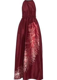 Valentino Woman Gathered Embroidered Silk-faille Gown Claret