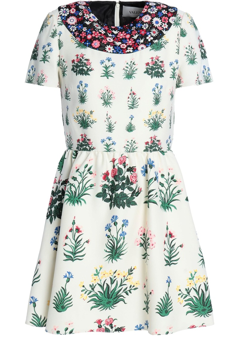 Valentino Woman Gathered Floral-print Wool And Silk-blend Crepe Mini Dress Ivory