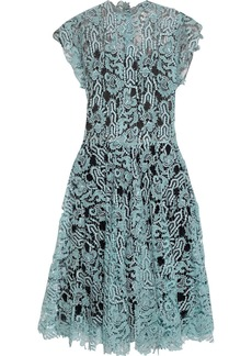 Valentino Woman Gathered Metallic Guipure Lace Midi Dress Turquoise