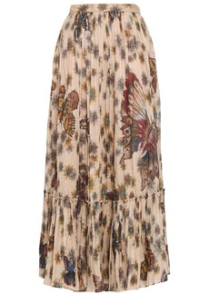 Valentino Woman Gathered Printed Cotton-organza Maxi Skirt Beige