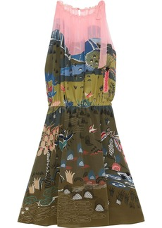 Valentino Woman Gathered Printed Silk-georgette Dress Sage Green
