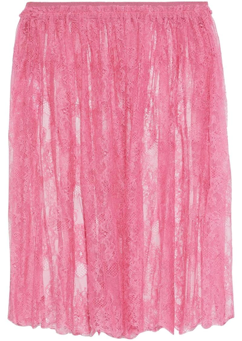 Valentino Woman Gathered Silk Chantilly Lace Skirt Pink