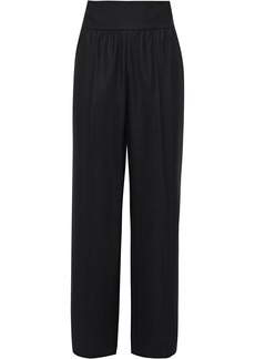 Valentino Woman Gathered Wool-felt Wide-leg Pants Black
