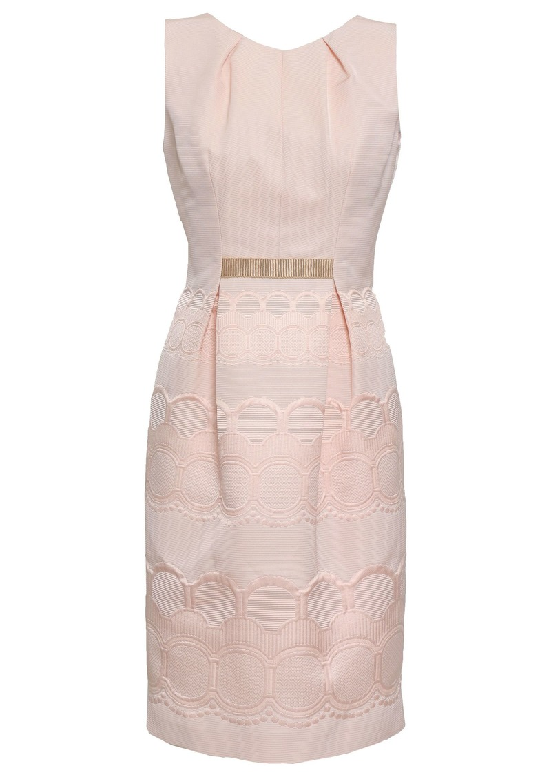 Valentino Woman Grosgrain-trimmed Cotton-blend Jacquard Dress Pastel Pink