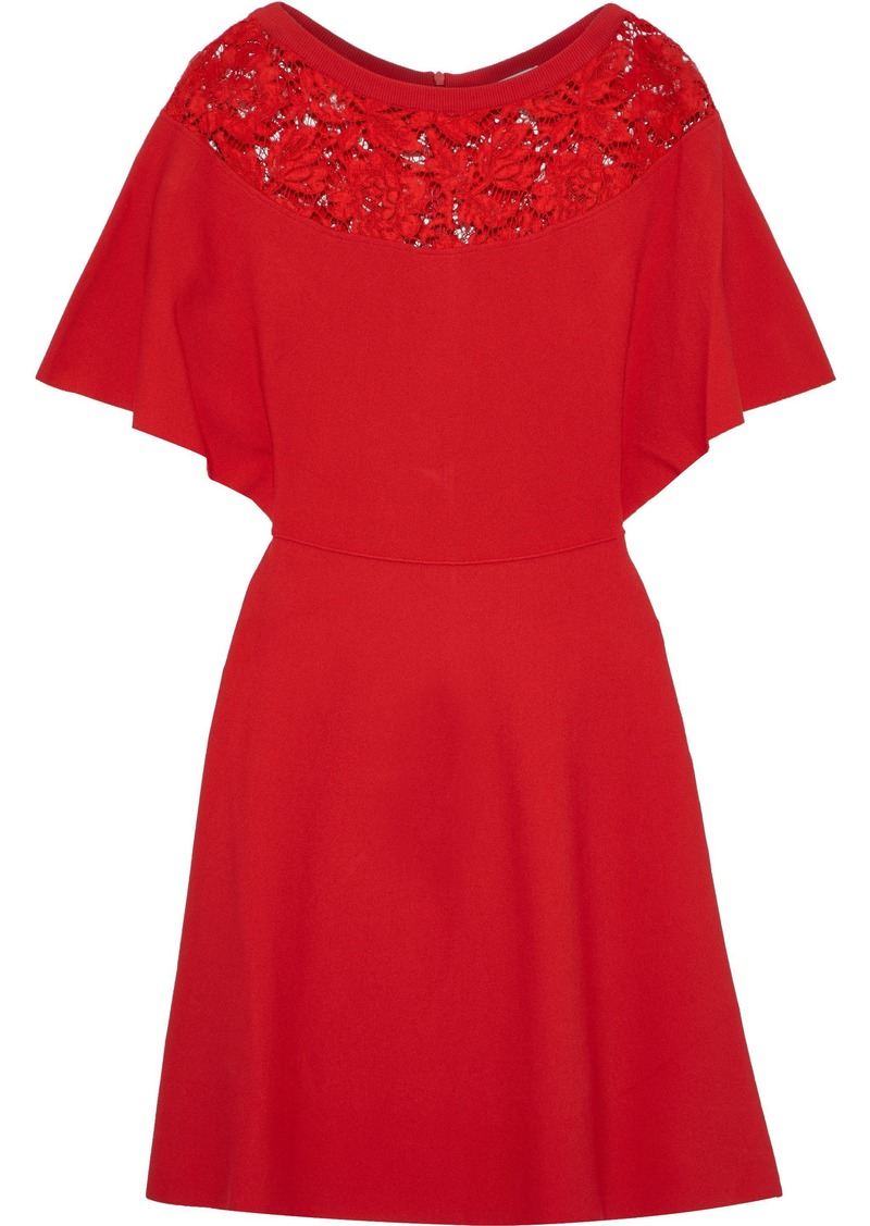Valentino Woman Corded Lace-paneled Stretch-knit Mini Dress Red