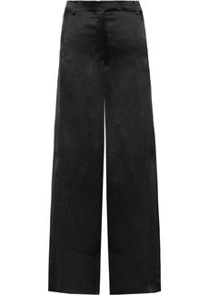 Valentino Woman Hammered-satin Wide-leg Pants Black
