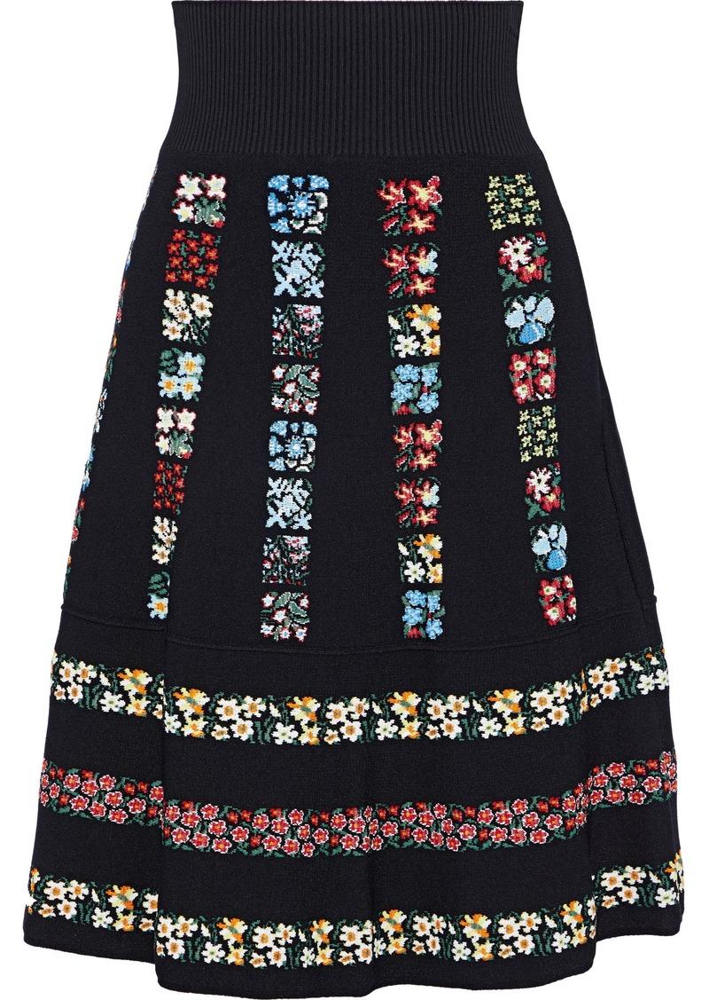 Valentino Woman Intarsia-knit Skirt Black