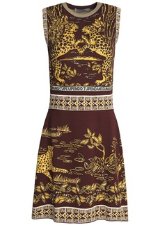 Valentino Woman Jacquard-knit Mini Dress Brown