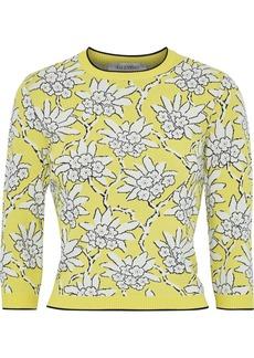 Valentino Woman Jacquard-knit Sweater Yellow