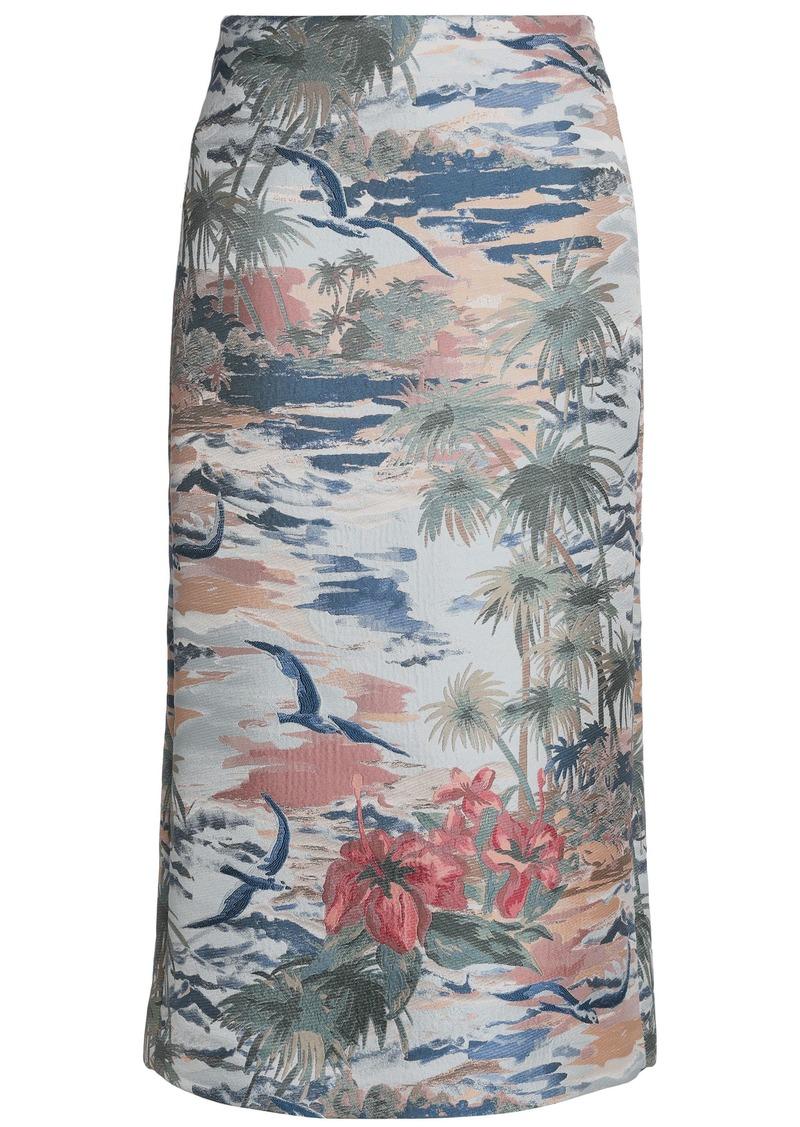 Valentino Woman Jacquard Midi Pencil Skirt Light Blue