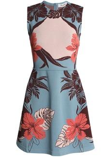 Valentino Woman Jacquard Mini Dress Light Blue