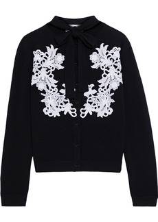 Valentino Woman Lace-appliquéd Wool And Cashmere-blend Cardigan Black