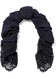 Valentino Woman Lace-paneled Cashmere Scarf Navy