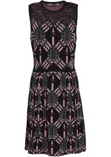 Valentino Woman Lace-paneled Jacquard-knit Mini Dress Black