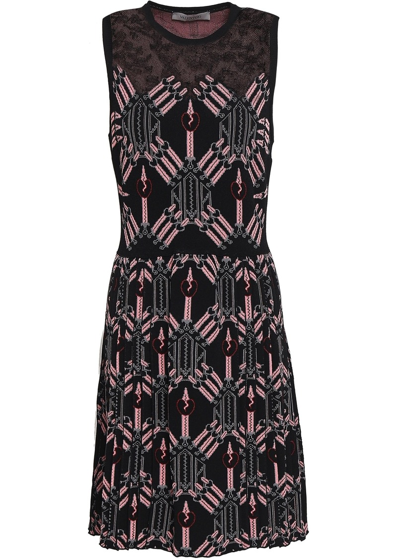 Valentino Woman Lace-paneled Jacquard-knit Mini Dress Black