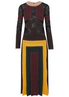 Valentino Woman Lace-paneled Pleated Studded Silk Crepe De Chine Midi Dress Multicolor