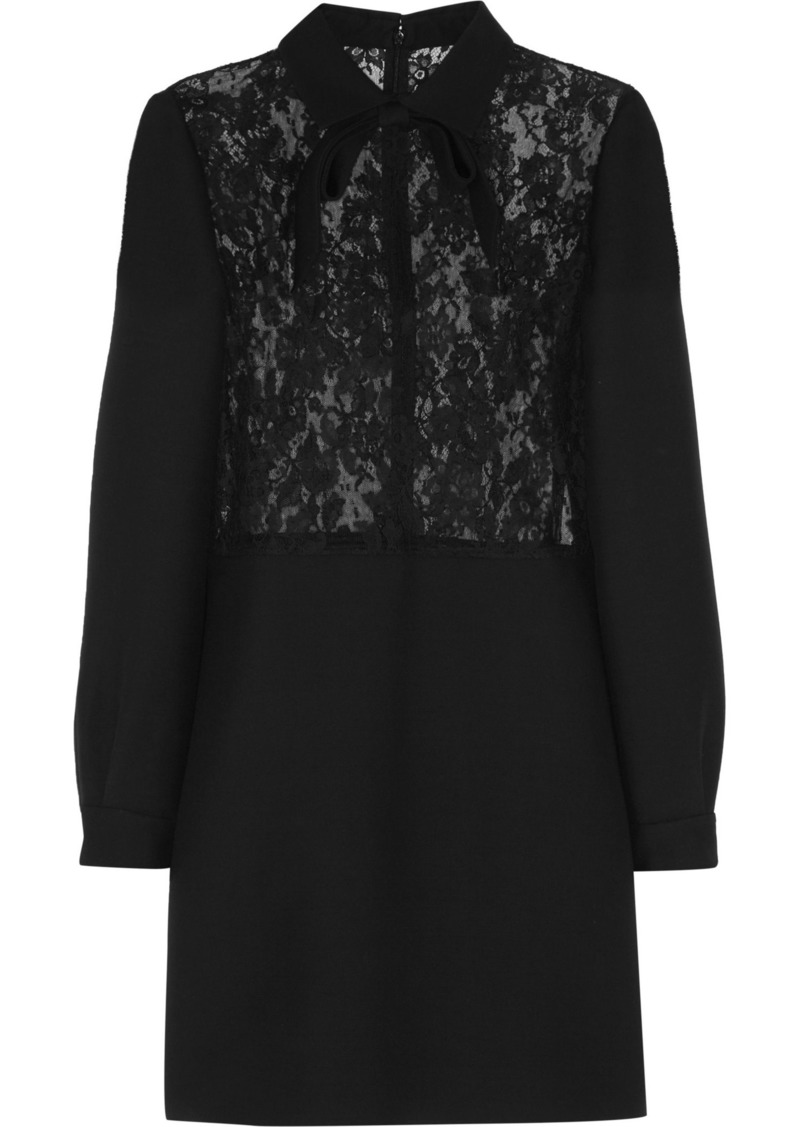 Valentino Woman Leavers Lace-paneled Wool And Silk-blend Crepe Mini Dress Black