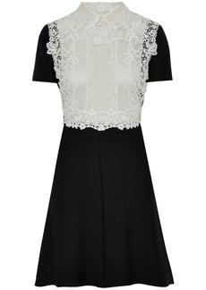 Valentino Woman Lace-paneled Wool And Silk-blend Mini Dress Black