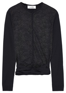 Valentino Woman Lace-paneled Wool Cardigan Black