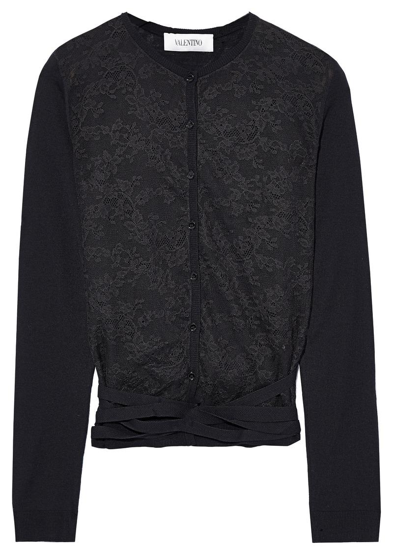 Valentino Woman Lace-paneled Wool Cardigan Black