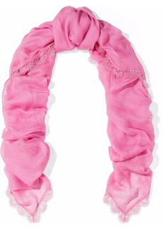 Valentino Woman Lace-trimmed Modal And Cashmere-blend Scarf Pink