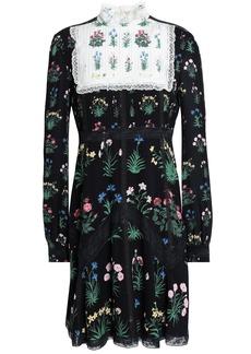 Valentino Woman Lace-trimmed Pintucked Silk Crepe De Chine Mini Dress Black