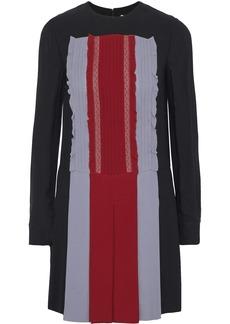 Valentino Woman Lace-trimmed Pleated Color-block Silk-crepe Mini Dress Black