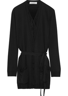 Valentino Woman Layered Lace-paneled Wool Cardigan Black