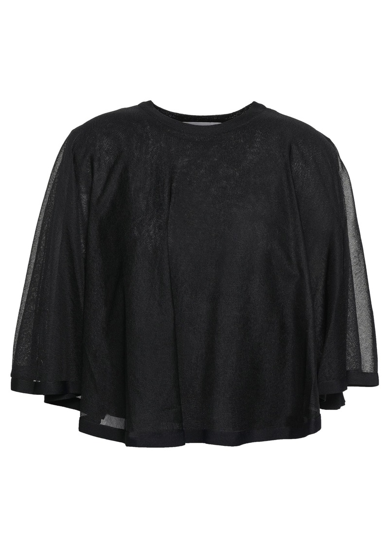 Valentino Woman Layered Stretch-knit Top Black