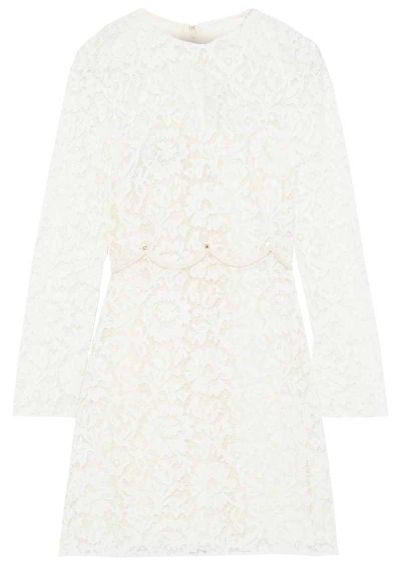 Valentino Woman Layered Studded Corded Lace Mini Dress Ecru