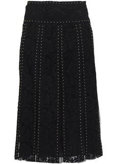 Valentino Woman Layered Studded Cotton-blend Corded Lace And Tulle Midi Skirt Black