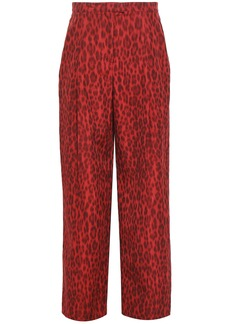 Valentino Woman Leopard-print Cotton And Silk-blend Wide-leg Pants Claret