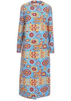 Valentino Woman Metallic Cotton-blend Jacquard Coat Azure