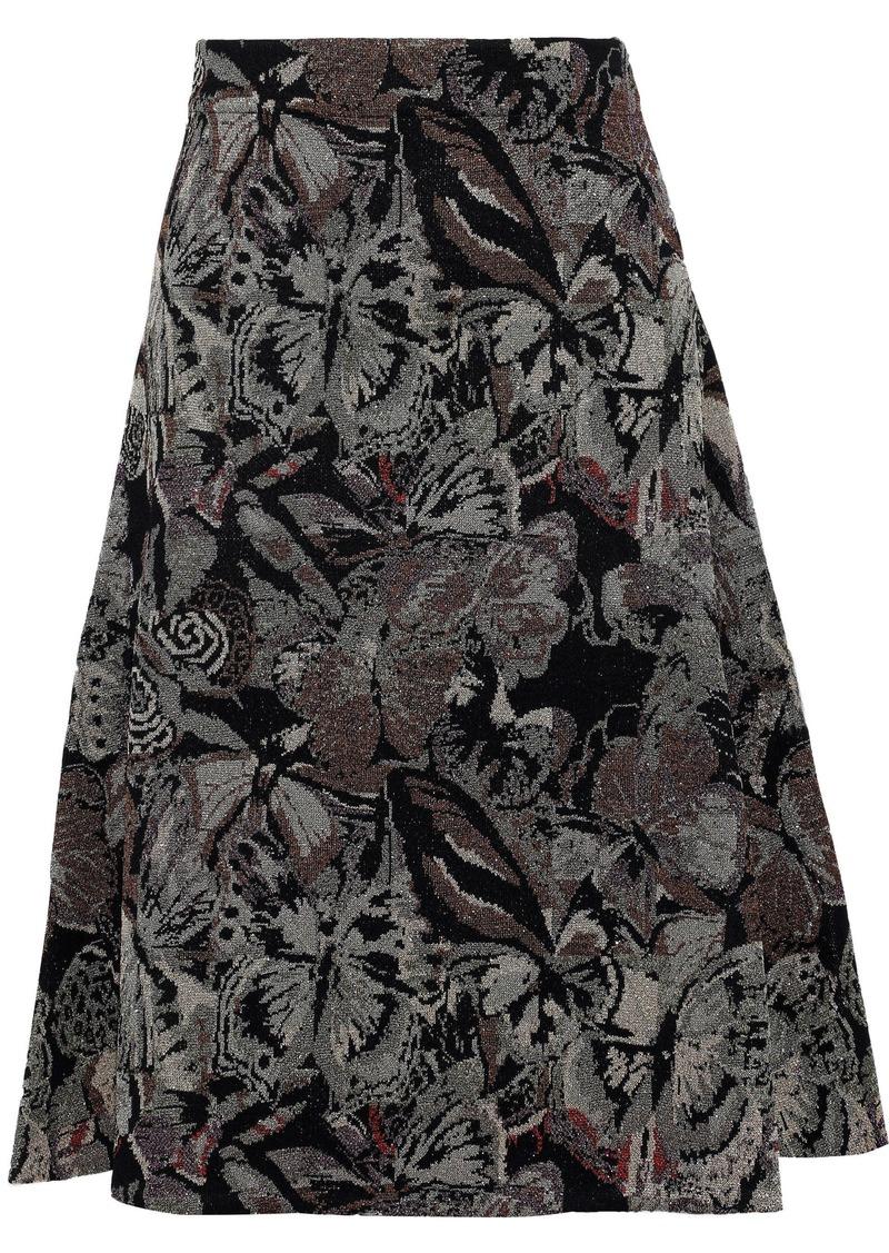 Valentino Woman Metallic Jacquard-knit Skirt Black