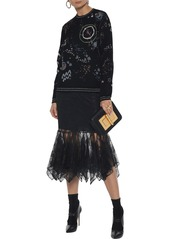 Valentino Woman Metallic Jacquard-knit Sweater Black
