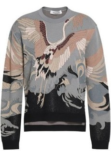 Valentino Woman Metallic Jacquard-knit Sweater Gray