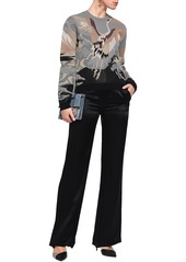 Valentino Woman Metallic Jacquard-knit Sweater Gray