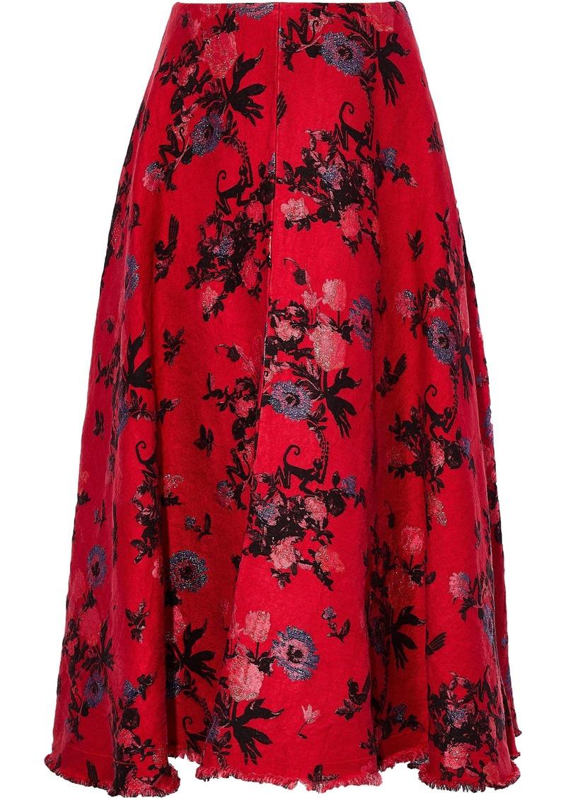 Valentino Woman Metallic Jacquard Midi Skirt Crimson