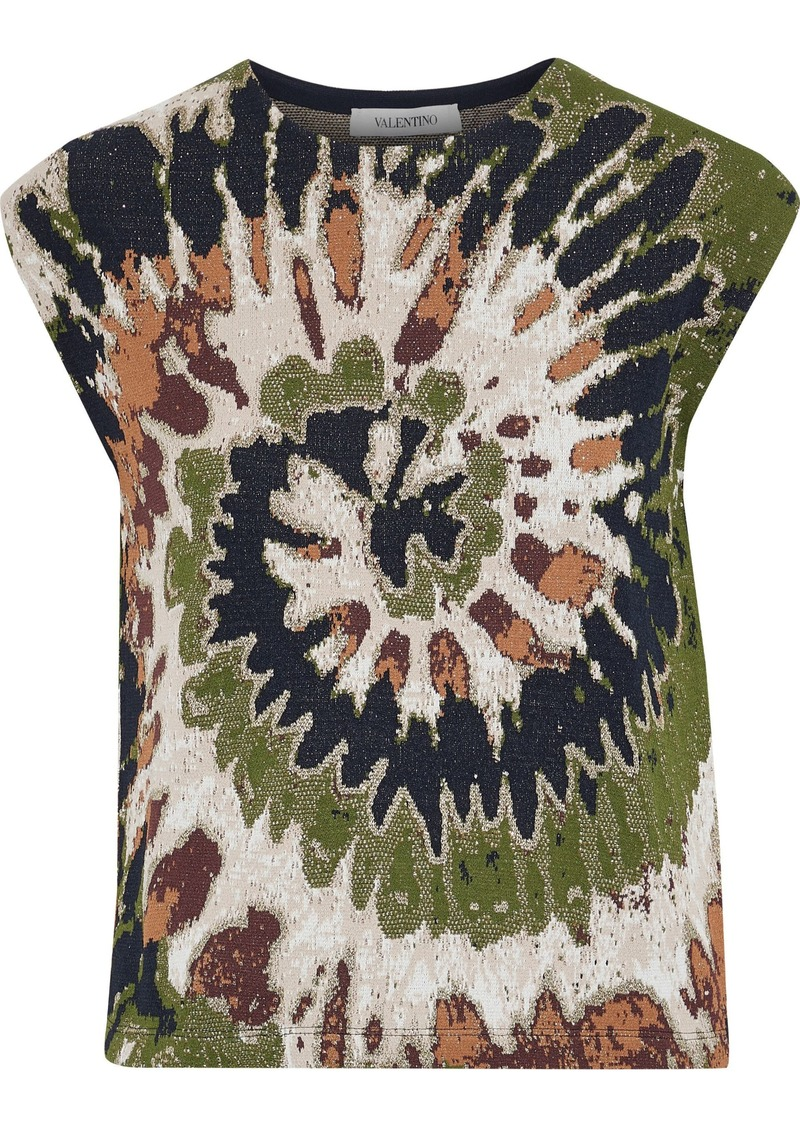 Valentino Woman Metallic Jacquard Top Multicolor
