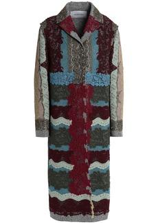 Valentino Woman Metallic Lace-appliquéd Cotton-blend Bouclé Coat Multicolor