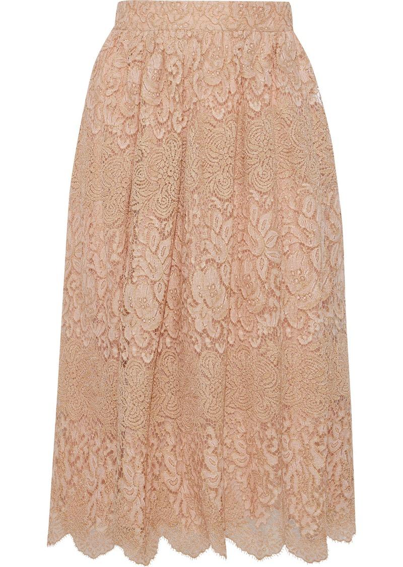 Valentino Woman Metallic Lace Midi Skirt Neutral