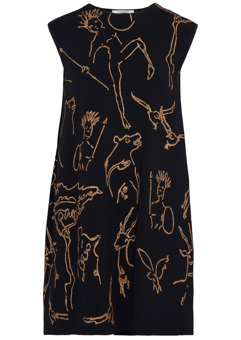 Valentino Woman Metallic Printed Knitted Mini Dress Black