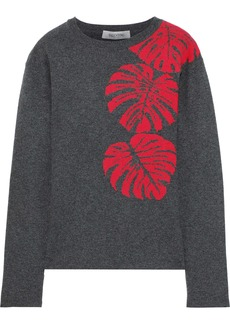 Valentino Woman Mélange Cashmere-jacquard  Sweater Gray