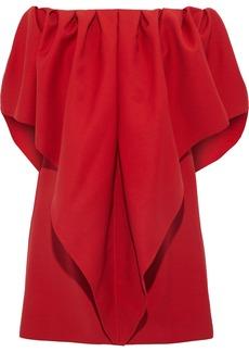 Valentino Woman Off-the-shoulder Draped Grain De Poudre Wool Mini Dress Crimson